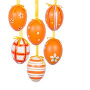 Group of hanging Easter eggs on a white background Stock Photos