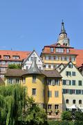 Street view of the Hoelderlin Tower in Tuebingen, Germany Stock Photos