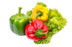 bell pepper or capsicum isolated on white - stock photo