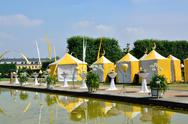 Stock Photo of Yellow tents in Herrenhausen Gardens, Hannover, Lower Saxony, Ge