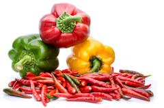 Bell pepper or capsicum isolated on white Stock Photos