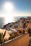 Oia on Santorini island in the Cyclades - stock photo