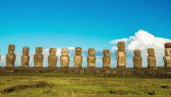 Zooming Easter Island Moai Stock Footage