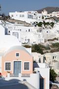 Oia on Santorini island in the Cyclades Stock Photos