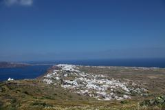 Oia on Santorini island in the Cyclades - stock photo