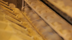 Blank dough for biscuits on the conveyor Stock Footage