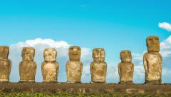 Panning Easter Island Moai Stock Footage