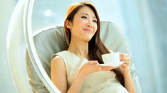 Young Asian Chinese Woman Leisure Luxury Room Coffee Corporate Hospitality Stock Footage