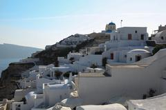 Oia on Santorini island in the Cyclades Stock Photos
