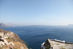 Santorini islands in the Cyclades Stock Photos