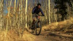 Mountain Biking on Trail Stock Footage