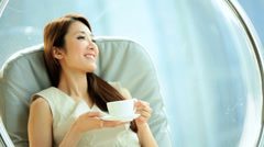 Female Asian Chinese Interior Design Modern Furnishings Home Coffee Relaxation - stock footage