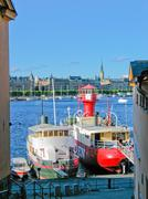 Stockholm harbour and Baltic Sea - stock photo