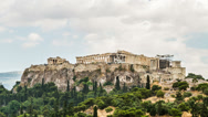 Stock Video Footage of Acropolis Parthenon view on rainy day, Athens, Greece - Zoom out , Timelapse, 4K