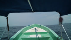 POV of the Bow of a Small Fishing Boat Stock Footage