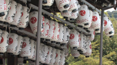 Dancing on the Wind Paper Lanterns from Yasaka Shrine in Kyoto - stock footage