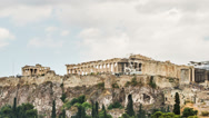 Stock Video Footage of Acropolis Parthenon view on a rainy day, Athens, Greece, Zoom Out