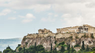 Stock Video Footage of Acropolis Parthenon view , Athens, Greece, Panning Zoom Out , Timelapse