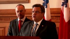 4K - Politician holding press conference at podium Stock Footage