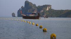 Boat at Ao-lo-dalam bay Stock Footage