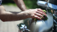 Stock Video Footage of Biker Motorcycle Tank Washes