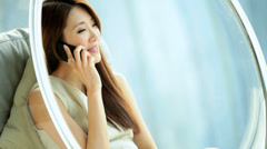 Female Asian Chinese Luxury Modern Furnishings Home Smart Phone Relaxation Stock Footage