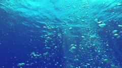 Stock Video Footage of Blue Under water air bubble