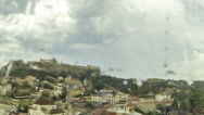 Stock Video Footage of Acropolis Parthenon view on a rainy day, Athens, Greece - Zoom Out , Timelapse