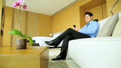 Happy Male Business Advisor Luxury Apartment Smart Phone Relaxation - stock footage