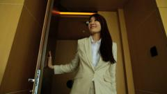 Asian Chinese Businesswoman Hotel Accommodation Smart Phone Technology - stock footage