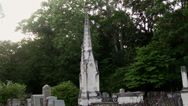 Stock Video Footage of historic cemetery graveyard monument