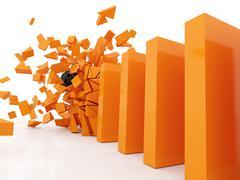 domino efect crashed orange - stock illustration