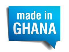 Stock Illustration of made in ghana blue 3d realistic speech bubble isolated on white background