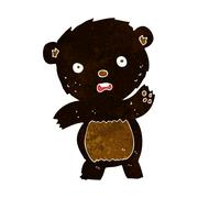 Stock Illustration of cartoon waving black bear cub