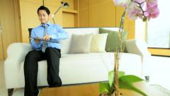 Asian Chinese Businessman Leisure Hotel Accommodation Laptop Computer Stock Footage