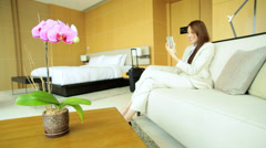 Asian Chinese Businesswoman Hotel Accommodation Webcam Chat Mini Tablet - stock footage