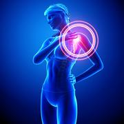 Anatomy of female Shoulder pain - stock illustration
