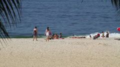Sunbathers and Beach in Copacabana Stock Footage