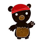 Cartoon black bear wearing hat Stock Illustration