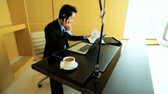 Young Asian Chinese Male Business Executive Smart Downtown Office Laptop - stock footage