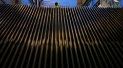 Moving stairs seen from above. Macro escalator in motion Stock Footage