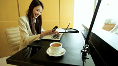 Female Business Executive Traveller Global Career Laptop Smart Phone Device Stock Footage