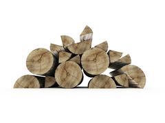 firewood isolated on white background - stock illustration