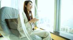 Young Asian Chinese Woman Leisure Luxury Room Coffee Corporate Hospitality - stock footage