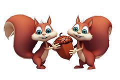 Squirrel with acorn nut - stock illustration