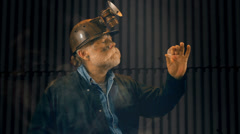 Coal miner finding giant gem Stock Footage