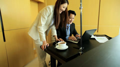 Successful Young Ethnic Asian Chinese Financial Brokers Office Wireless Laptop Stock Footage