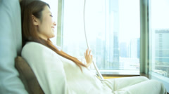 Young Asian Chinese Woman Leisure Luxury Room Corporate Hospitality Stock Footage