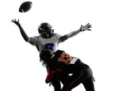 American football player quarterback sacked fumble silhouette Stock Photos
