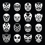 Lucha libre, luchador Mexican wrestling white masks icons on black Stock Illustration